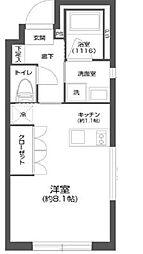 都営新宿線 菊川駅 徒歩6分の賃貸マンション 1階ワンルームの間取り