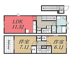 [タウンハウス] 千葉県四街道市下志津新田 の賃貸【/】の間取り