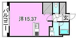 ルネッサンス樽味 6階ワンルームの間取り