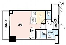 パークソレイユ弐番館 5階ワンルームの間取り