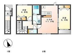 JR日豊本線 国分駅 3.4kmの賃貸アパート 2階2LDKの間取り