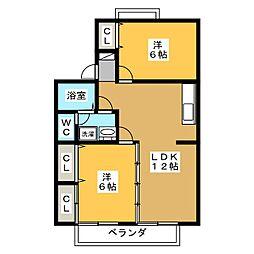セジュールMizuno[2階]の間取り