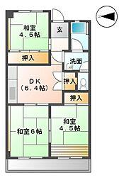 愛知県清須市清洲3丁目の賃貸マンションの間取り