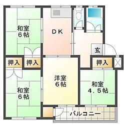 名谷一団地9号棟[3階]の間取り