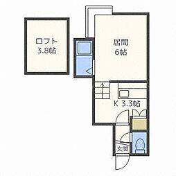 ソレイユハイム新道東 B棟[2階]の間取り