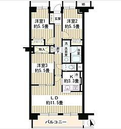 東京メトロ東西線 落合駅 徒歩2分の賃貸マンション 2階3LDKの間取り