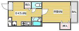大阪府高槻市庄所町の賃貸マンションの間取り