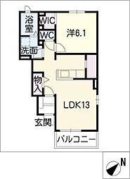 愛知県西尾市上矢田町庄衛山の賃貸アパートの間取り