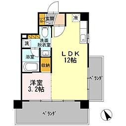 HOUSE TAGAWA 7階1LDKの間取り