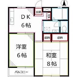 東京都国分寺市東戸倉2丁目の賃貸アパートの間取り