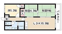 愛知県名古屋市瑞穂区大喜町3丁目の賃貸マンションの間取り