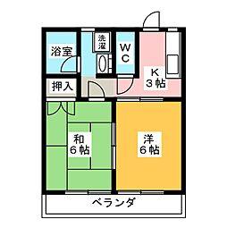 コーポ・ミレニアムB[1階]の間取り