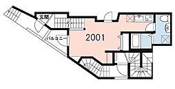 ガーデンテラス三軒茶屋 2階1Kの間取り
