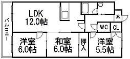北海道札幌市西区西町南21丁目の賃貸マンションの間取り