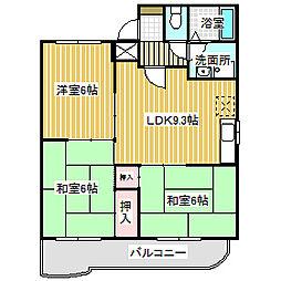 愛知県名古屋市中川区吉津1丁目の賃貸アパートの間取り