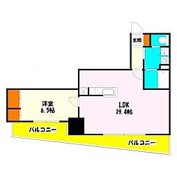 ロイヤルKJ[6階]の間取り