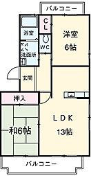 愛知県安城市二本木町長根の賃貸マンションの間取り