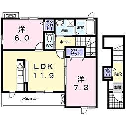 静岡県浜松市中区高丘北3丁目の賃貸アパートの間取り
