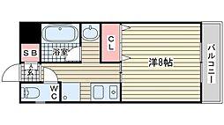 神戸市西神・山手線 伊川谷駅 徒歩7分の賃貸マンション 1階1Kの間取り