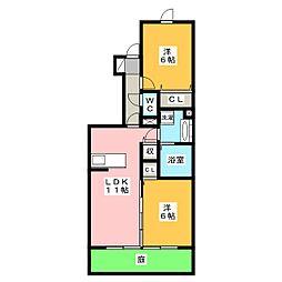 クレセントベル[1階]の間取り