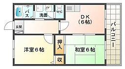 大阪府大阪市平野区平野市町2丁目の賃貸マンションの間取り