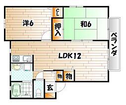 エヴァーグリーン紫の池 A棟[2階]の間取り