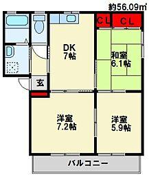 三洋タウン本城 A棟[102号室]の間取り