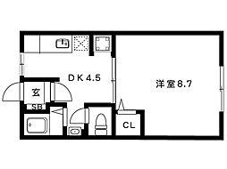 岡本梅林住宅5号棟[202号室]の間取り