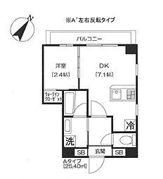 都営浅草線 大門駅 徒歩11分の賃貸マンション 6階1DKの間取り