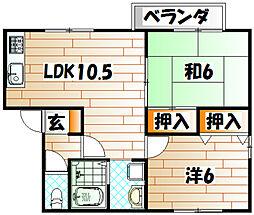 福岡県北九州市門司区吉志4の賃貸アパートの間取り