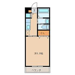 コスモ昭栄 4階1Kの間取り