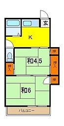 田中アパート[202号室]の間取り