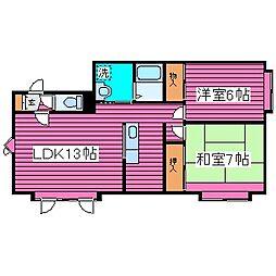 北海道札幌市東区北四十五条東15丁目の賃貸アパートの間取り