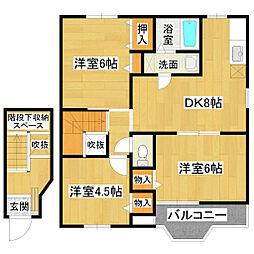 兵庫県篠山市黒岡の賃貸アパートの間取り