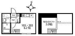 ハーミットクラブハウス三ツ沢中町(仮) 1階ワンルームの間取り
