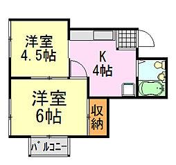 エスポワール飯田[1号室]の間取り