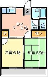 埼玉県桶川市末広1の賃貸アパートの間取り