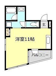 京急大師線 鈴木町駅 徒歩9分の賃貸マンション 4階ワンルームの間取り