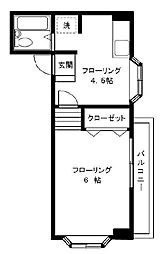 JR中央本線 国分寺駅 徒歩6分の賃貸マンション 2階1DKの間取り