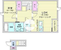 アヴニールブリエ 2階1LDKの間取り
