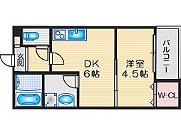 阪急京都本線 茨木市駅 徒歩11分の賃貸アパート 1階1DKの間取り
