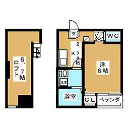 宮城県仙台市若林区石名坂の賃貸アパートの間取り