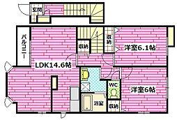 広島県安芸郡熊野町出来庭9丁目の賃貸アパートの間取り