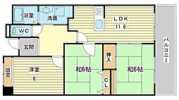 兵庫県姫路市夢前町菅生澗の賃貸マンションの間取り