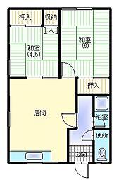 山川アパート[102号室]の間取り