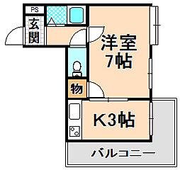 兵庫県伊丹市御願塚5丁目の賃貸アパートの間取り