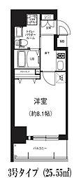 Osaka Metro谷町線 南森町駅 徒歩5分の賃貸マンション 3階1Kの間取り