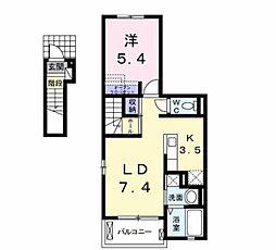 JR博多南線 博多南駅 徒歩18分の賃貸アパート 2階1LDKの間取り