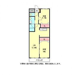 愛知県江南市赤童子町大間の賃貸マンションの間取り
