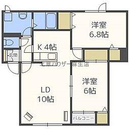 北海道札幌市北区屯田五条12丁目の賃貸アパートの間取り